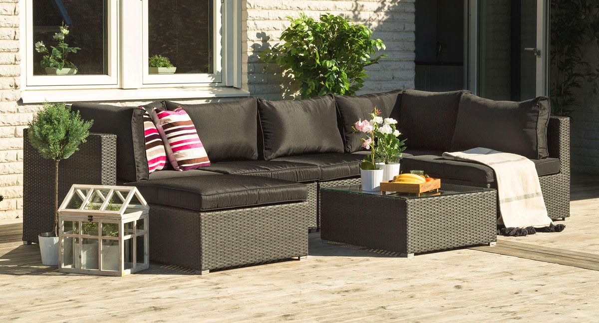 Utomhusmöbler - Soffa i konstrotting - PALM
